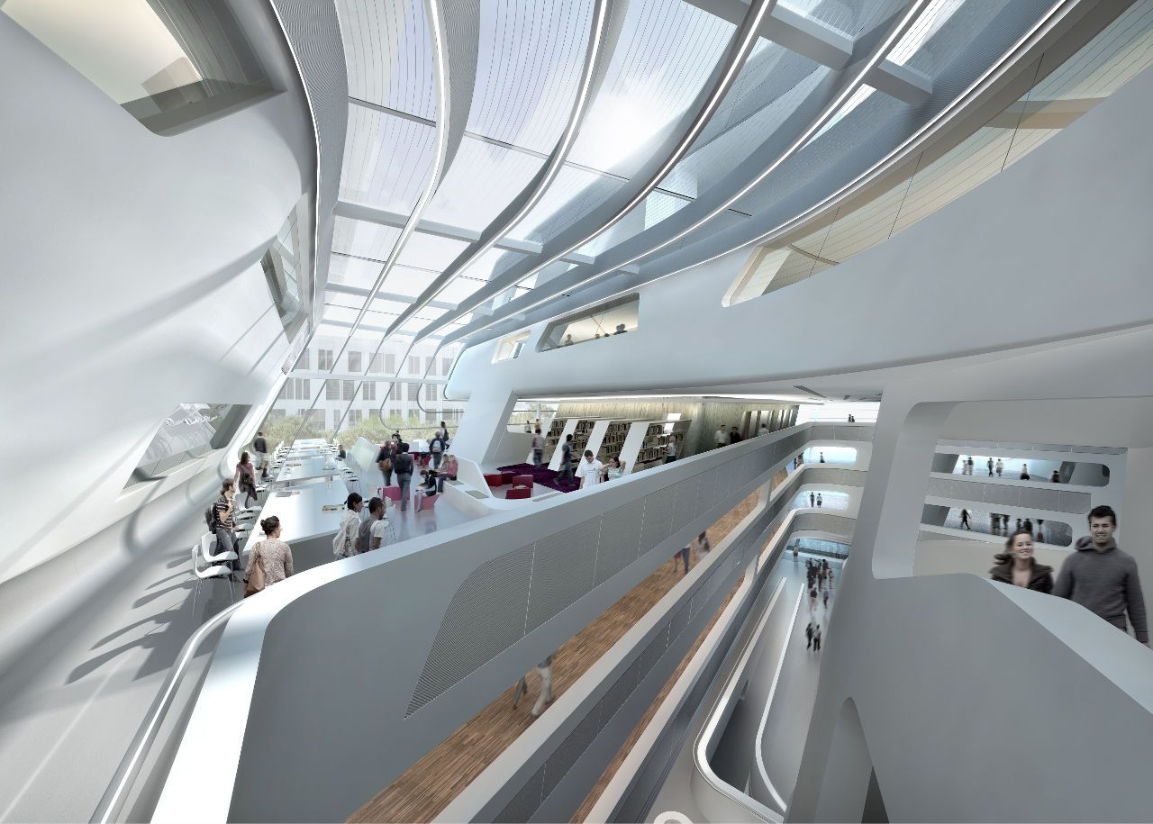 Library and learning center university of economics and for Interior design zaha hadid