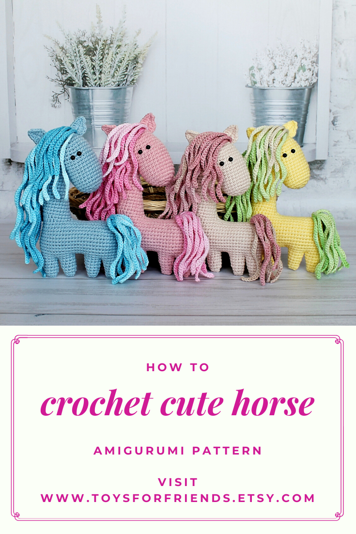 Crochet Pattern Horse Amigurumi Pattern Horse Easy Turorial Etsy Crochet Horse Handmade Soft Toys Stuffed Toys Patterns