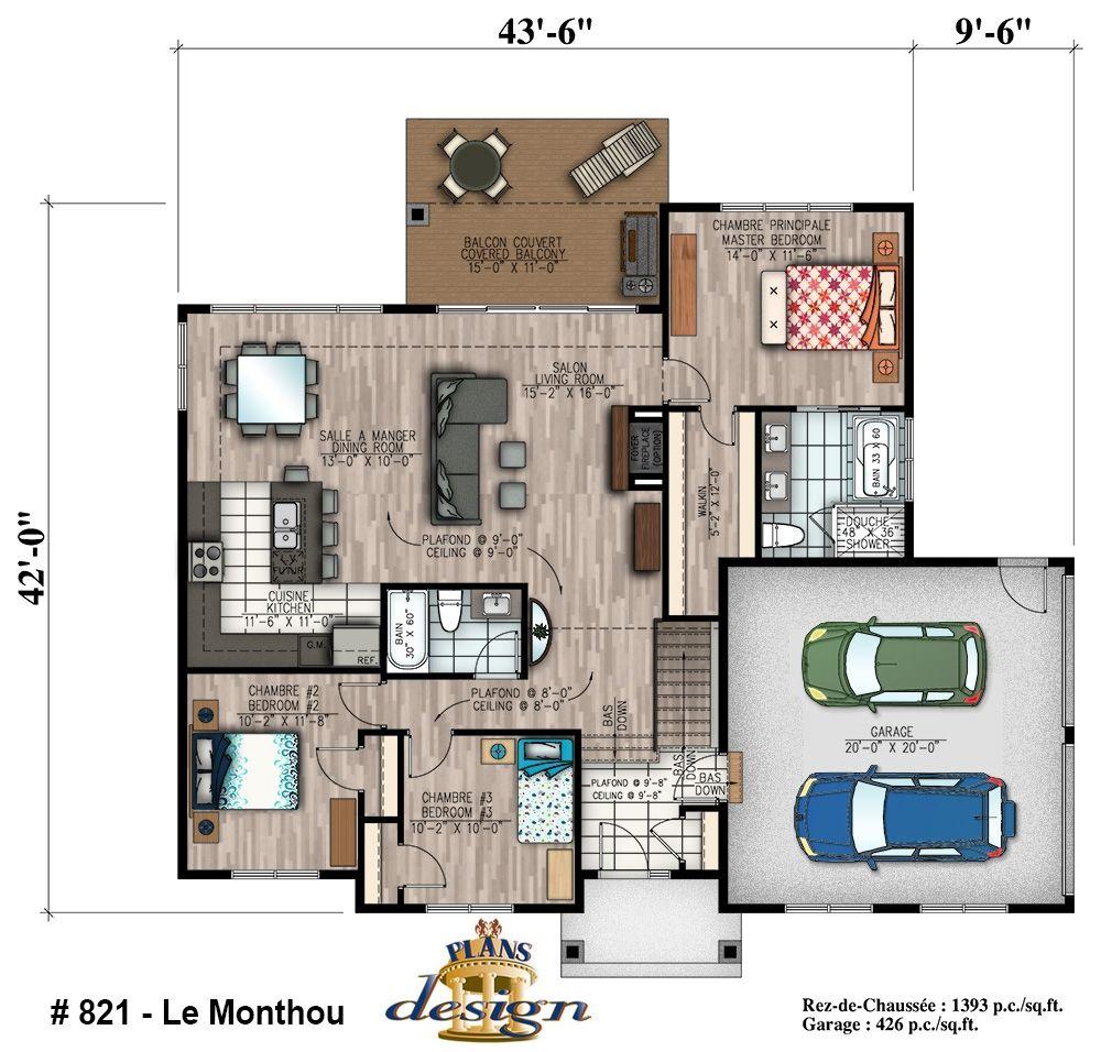Amazing le monthou bungalow mobilit rduite handicap plain for Plan maison 6 chambres