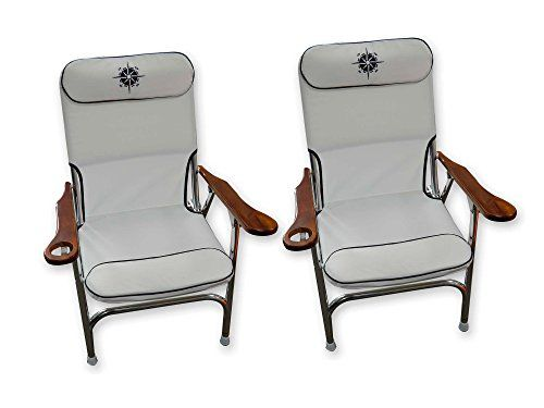 Premium Aluminum Deck Chairs With Cup Holder Folding White Beach Chair Marine Grade Set Of 2 Five Oceans Bc3886 Check Out This Great