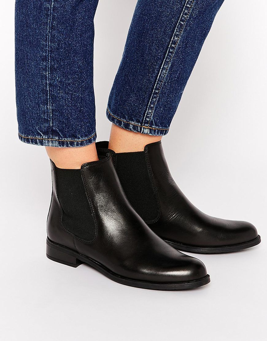 Dune Parry Black Leather Chelsea Flat Ankle Boots | Flats Smooth