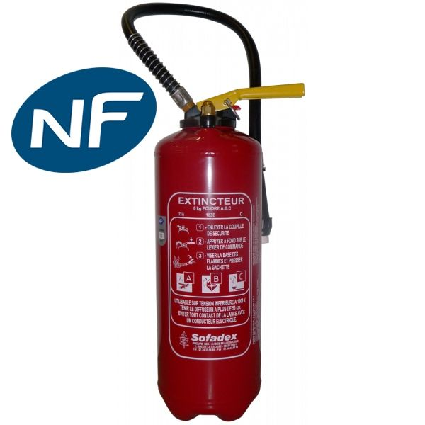 extincteur poudre 6 kg abc pression auxiliaire nf en3 extincteurs fire extinguisher et fire. Black Bedroom Furniture Sets. Home Design Ideas