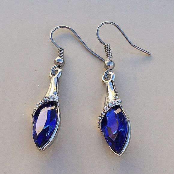 Sapphire Blue Earrings. 18k white gold filled. Swarovski crystal. Sapphire blue color. (Not a sapphire, but a Swarovski crystal.)  New but does not come with tags. None Jewelry Earrings