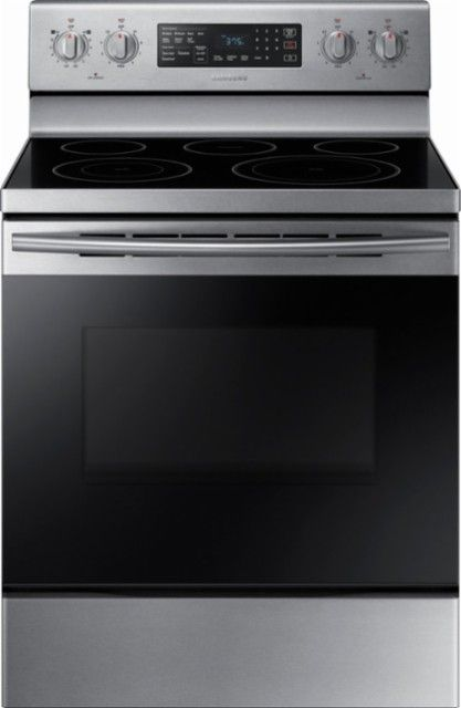 Samsung 5 9 Cu Ft Convection Freestanding Electric Range Stainless Steel Ne59m4320ss Best Buy Freestanding Electric Ranges Electric Range Stainless Steel Cooktop