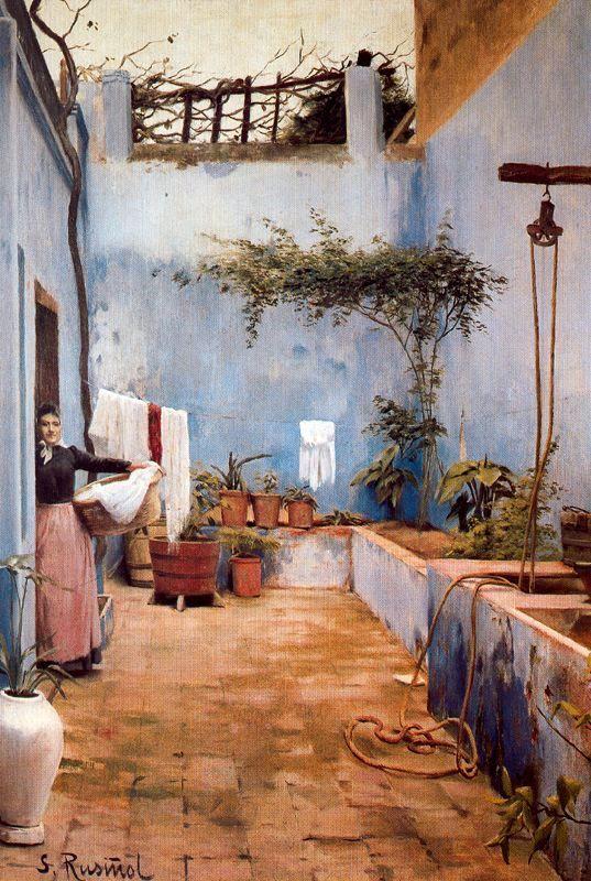 El Patio Azul By Santiago Rusiñol Prats (Spanish 1861   1931)
