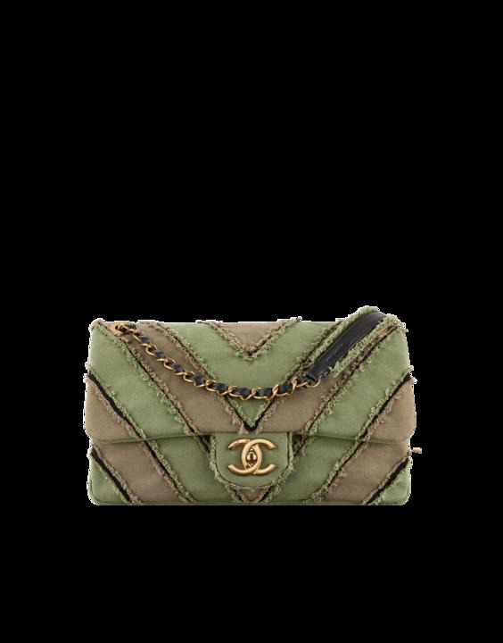 d398df9a3f96 Chanel Khaki Canvas Patchwork Chevron Medium Flap Bag | chanel bags ...