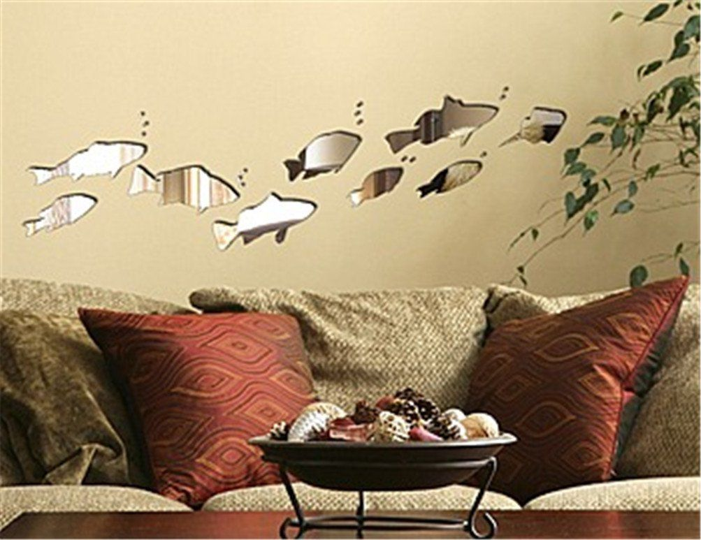 Niwota Fish Wall Decal 3D Removable Stereoscopic Mirror Sticker for ...