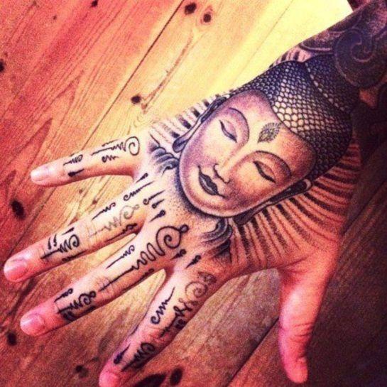 20 Spiritual And Stunning Buddhist Tattoo Designs Hand Tattoos For Girls Hand And Finger Tattoos Buddha Tattoo Design