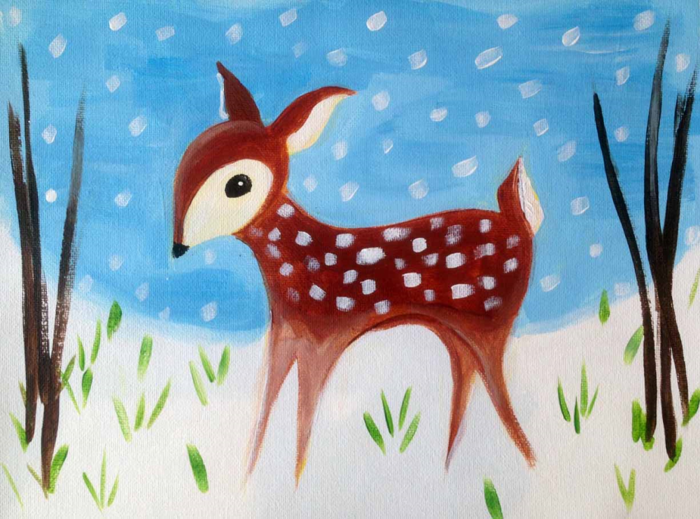 love bambi or all things reindeer kids will love painting this winter deer scene