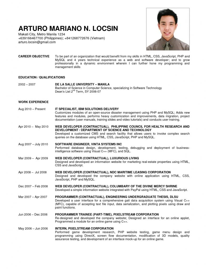 Sample Resume For Software Engineer Fresher Job Resumes Examples