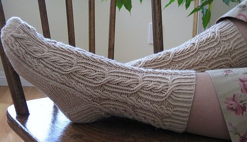 Ribbed Rope Socks...  Pattern available from Redtigerdesigns for $6.50