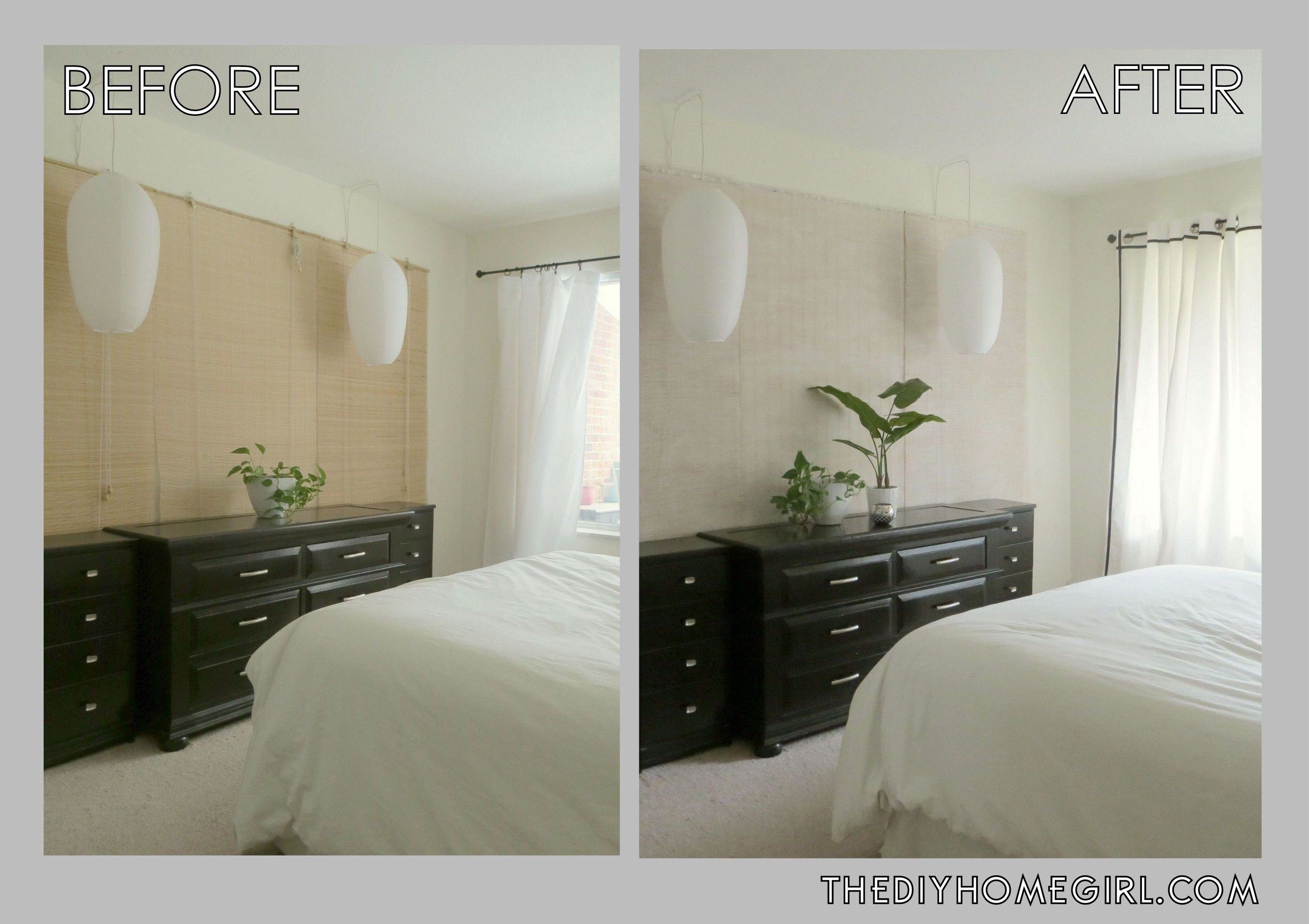 Before and after of whitewashed bamboo blinds in bedroom whitewashed