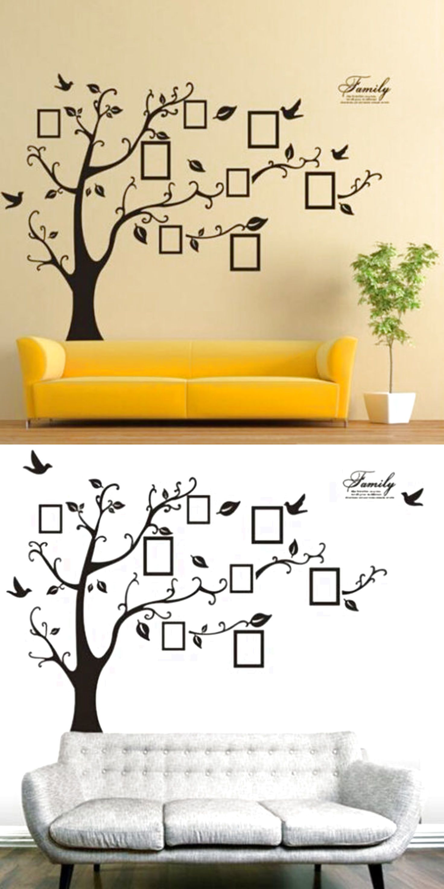 Family Tree Bird Wall Sticker Photo Picture Frame Removable Decal ...
