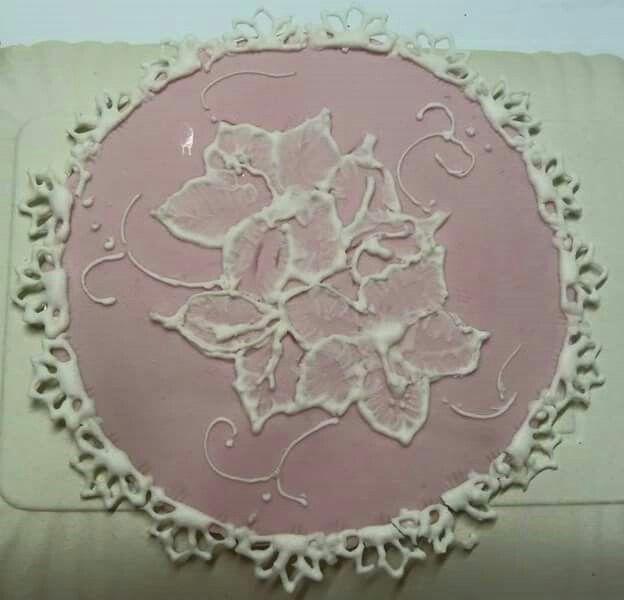 Cialda pdz con fiore in ghiaccia reale