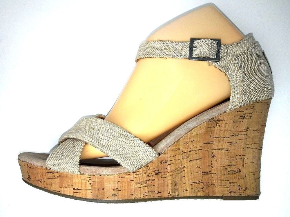 698922c9a6ea71 Toms Womens Wedge Sandal Size 9.5 Wide Tan Beige Canvas Shoes Cork Heel   Toms  Sandals  Casual