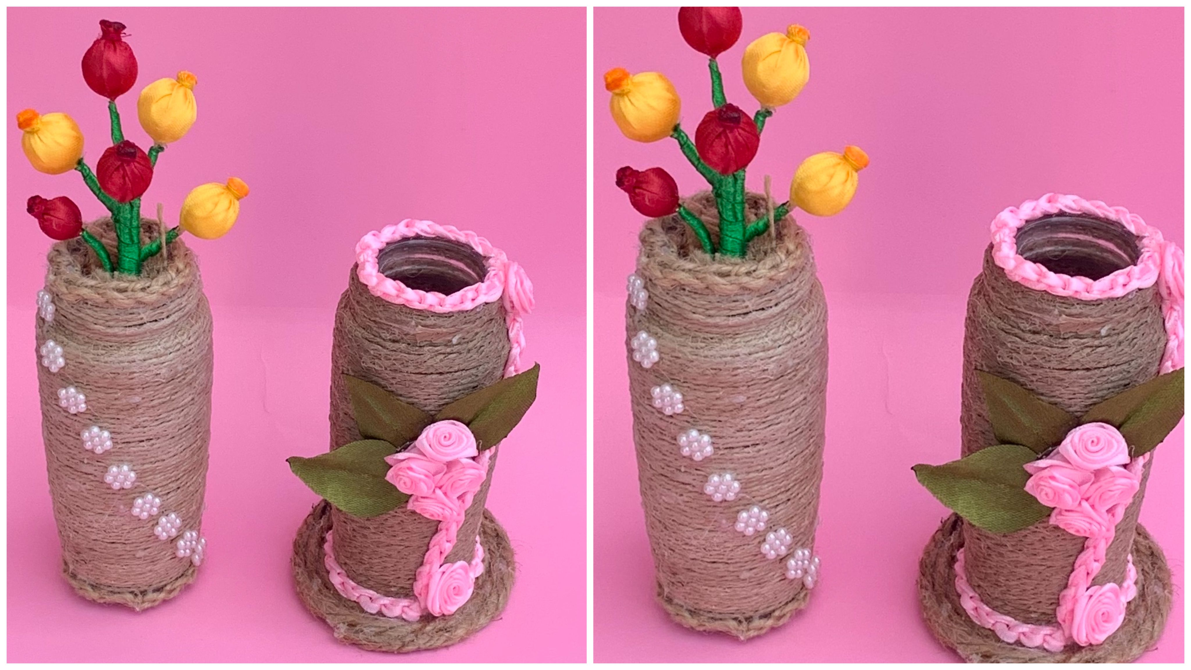 Handmade Flower Vase Step By Step How To Make A Vase With Jute Ribbon Flower Vase Diy Flower Vase Making Handmade Flowers