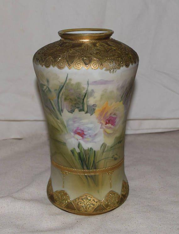 Antique Nippon Blue Maple Leaf Scenic Vase Matte Finish Nippon