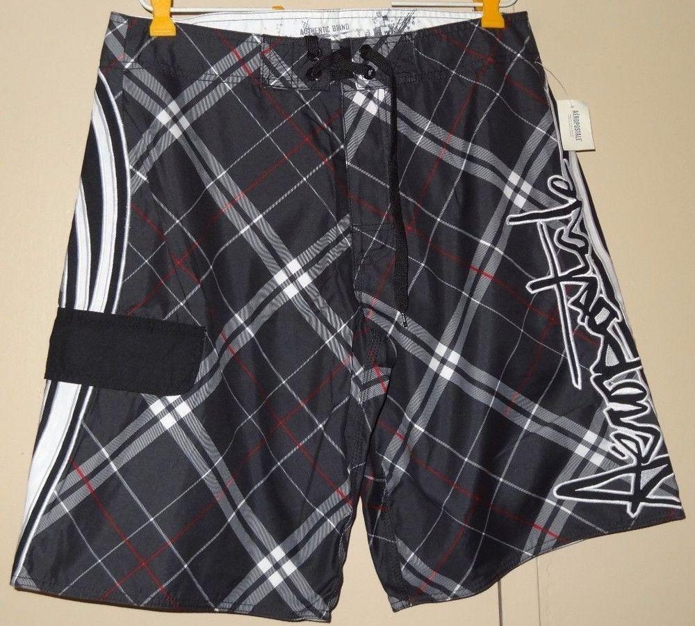 5e51fc8579 Aeropostale Men Size 32 Black White Red Plaid Stripe Bathing Suit Shorts  New NWT #Aropostale #Trunks