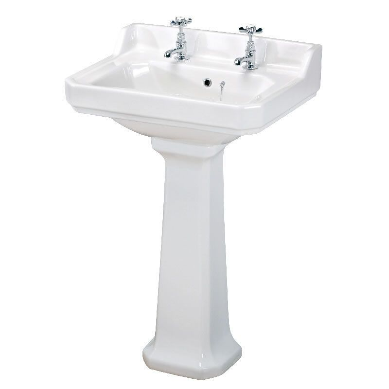 Details About Traditional White Bathroom Ceramic 595mm Two Tap