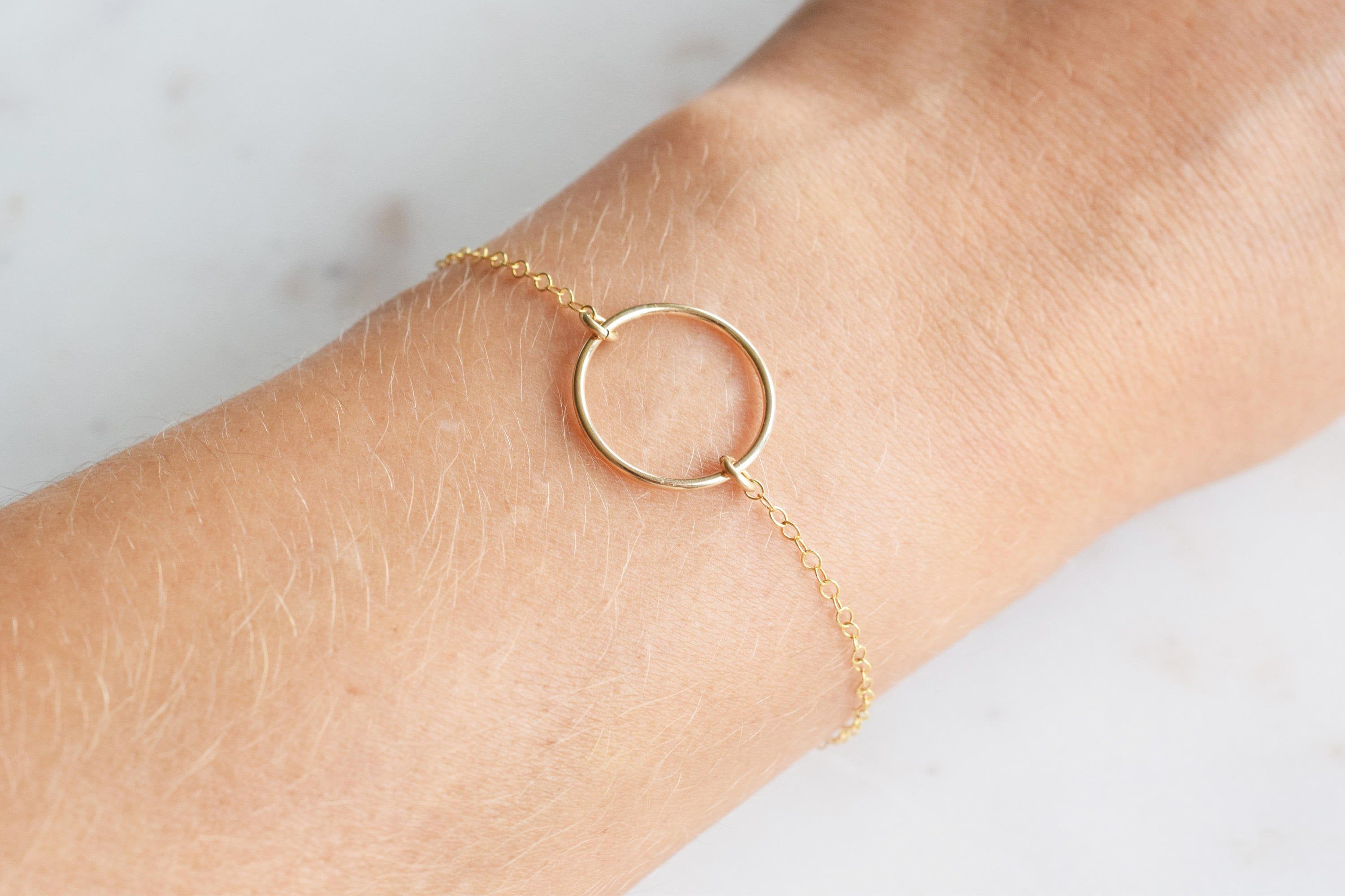 Photo of JOLIE 14K Gold Filled Circle Bracelet, Simple Charm Bracelet, US made, Handcrafted Handmade Jewelry, Dainty Jewelry, Minimalist Gift for her