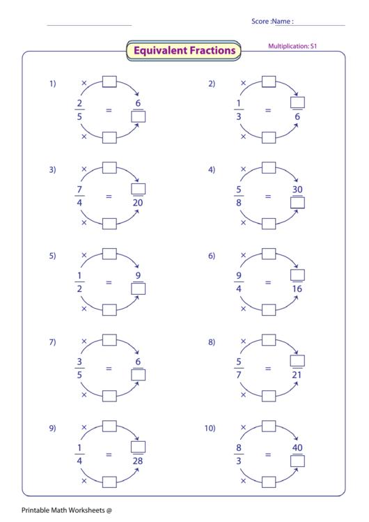 Equivalent Fractions Worksheet Printable Pdf Fractions Worksheets Equivalent Fractions Fractions Multiplication