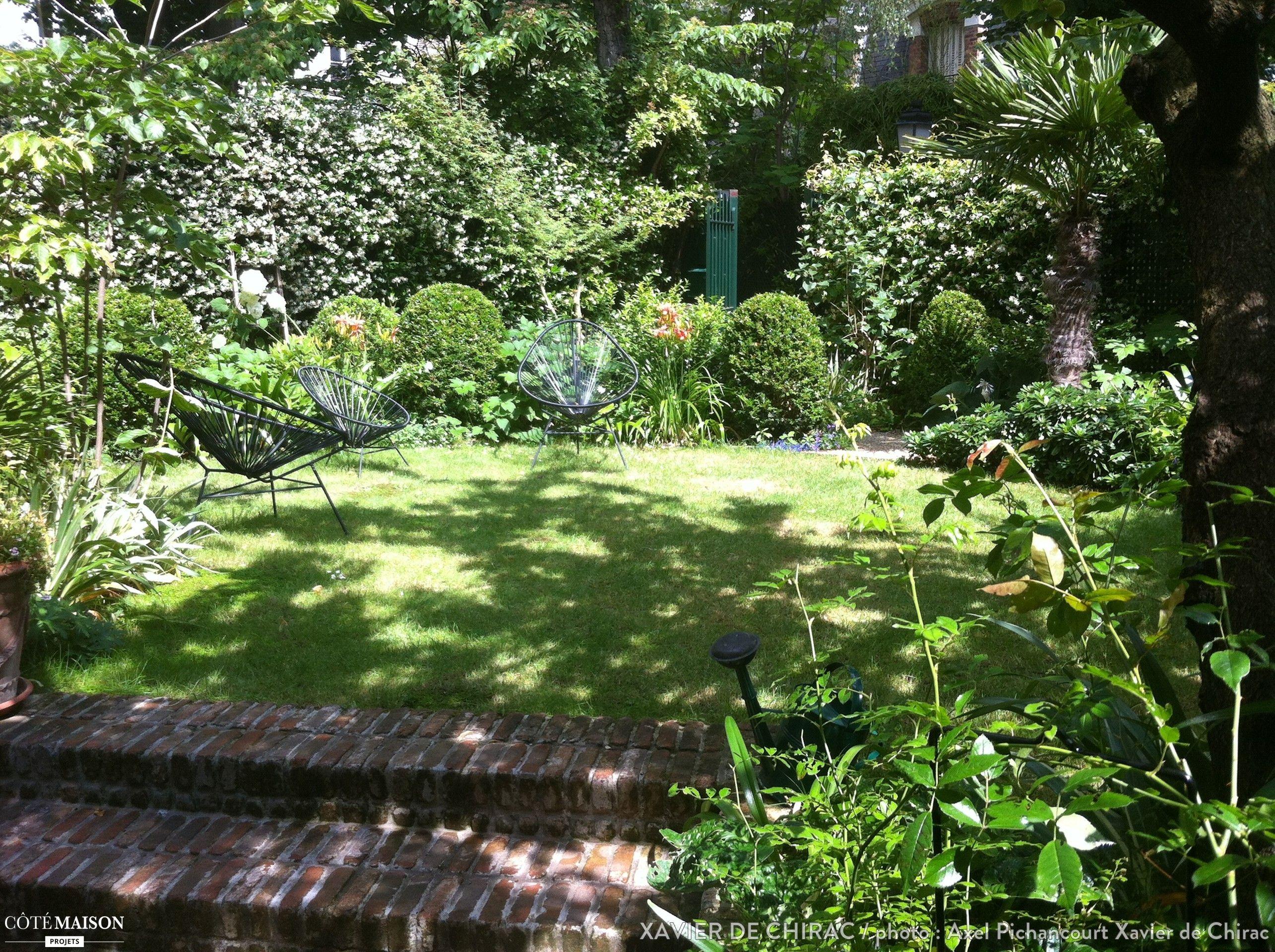 un tr s petit jardin plant d 39 un abricotier de roses d 39 iris de buis avec une terrasse en. Black Bedroom Furniture Sets. Home Design Ideas