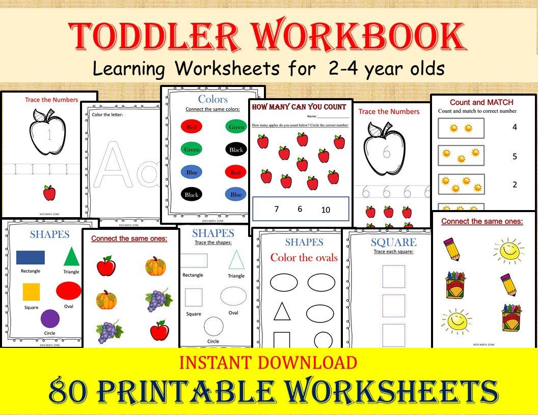 Toddler Workbook 80 Printable Worksheets Digital