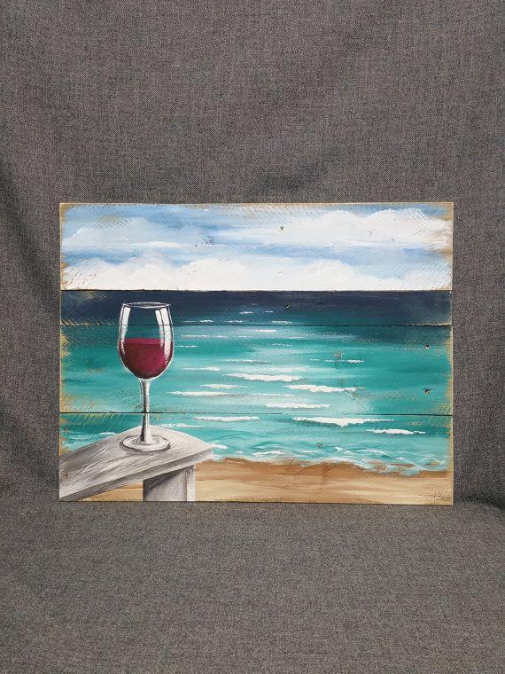 Palette Holz Strand Red Wine, Malerei, Malerei auf Holz, Ozean-Wandkunst Palette, Strandkorb, handgefertigte Landschaft Horizont, Ozean, Distressed #beachcottageideas