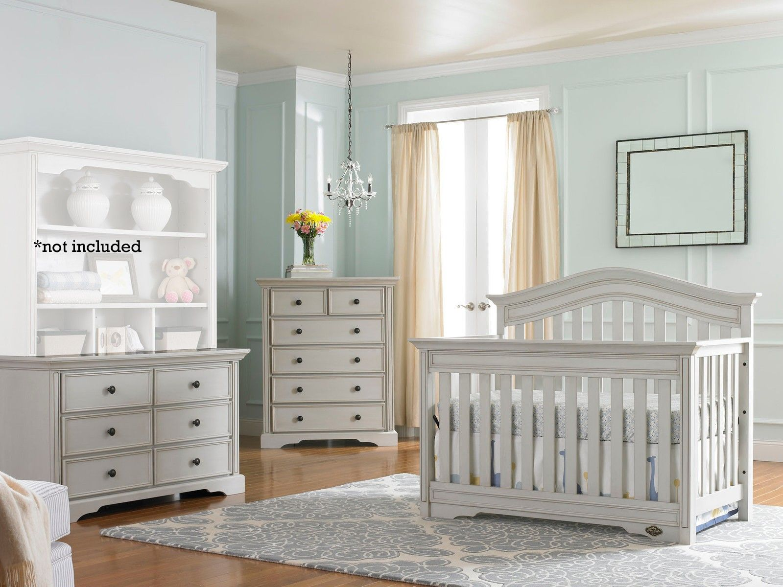 Bonavita Westfield 3 Piece Nursery Set in Linen Gray - Crib, Dresser ...