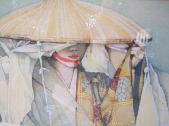 Geisha Girl original colored pencil art oriental by paintallday, $250.00