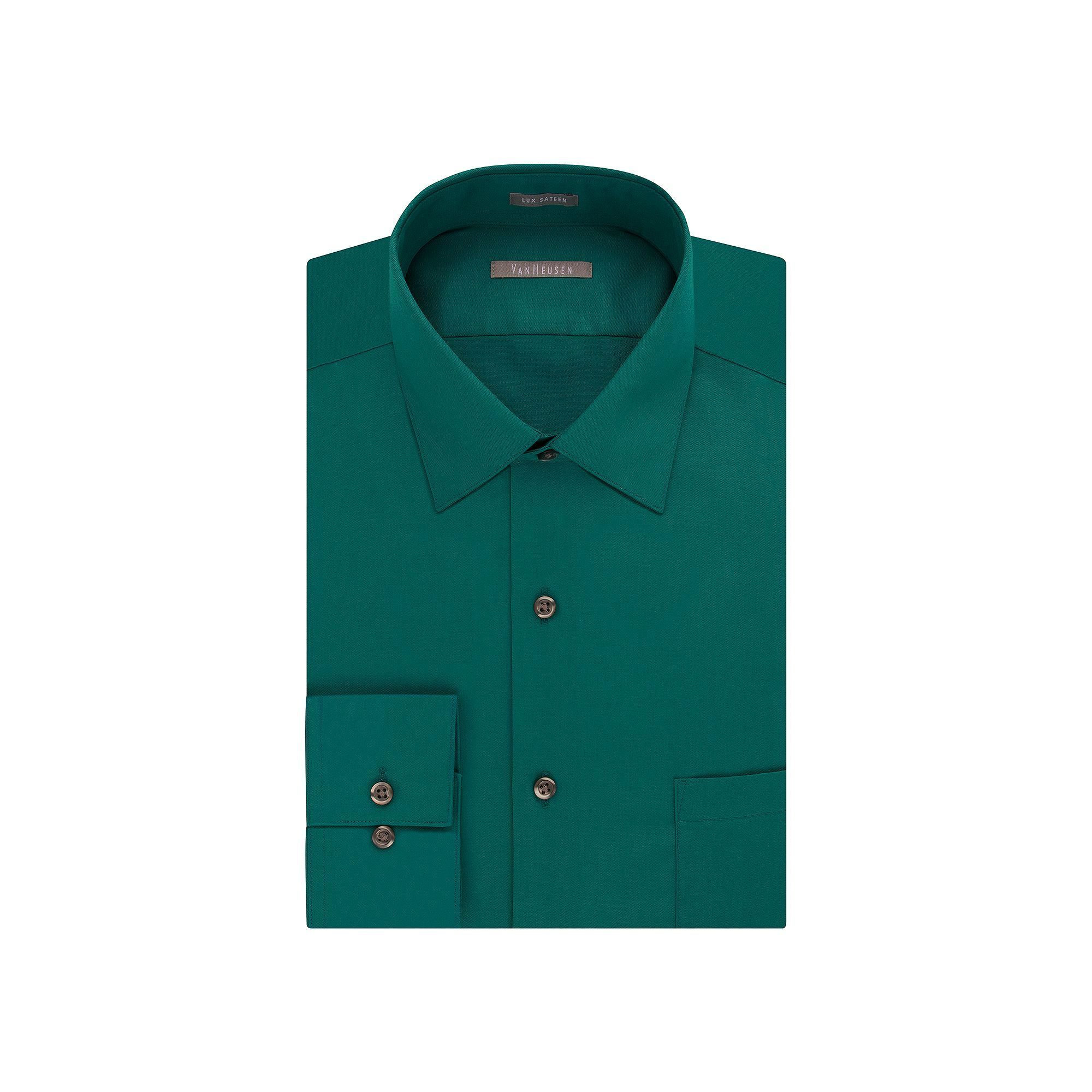 Green dress shirt mens Van Heusen Big u Tall RegularFit Solid Lux Sateen NoIron Spread