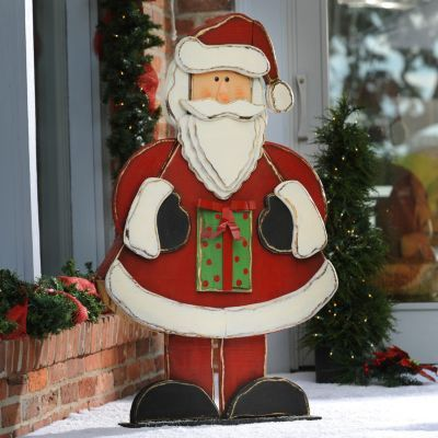 funny santa christmas yard decorations from wood | Rustic Wooden Santa Statue, 48 in. | Kirkland's ...