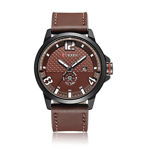 CURREN 8253 All Brown Mens Sports Waterproof Leather Strap Date Good Quality Wrist Watch >>> You can find more details by visiting the image link. (This is an affiliate link) #GShockWatchforMen