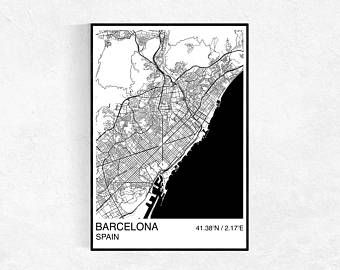 Personalised Barcelona City Street Map Print  gift quote