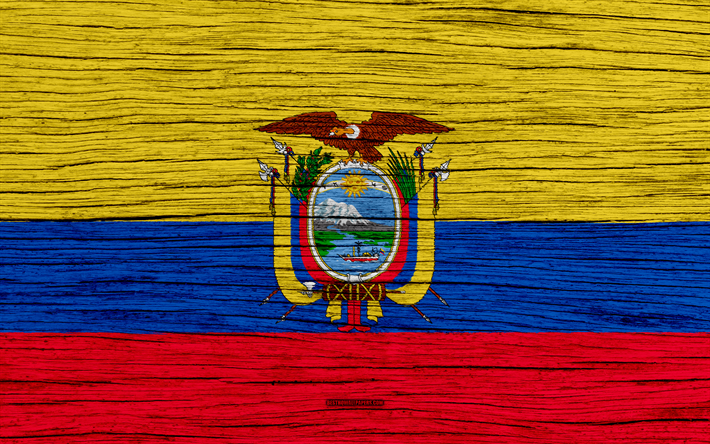 Download Wallpapers Flag Of Ecuador 4k South America Wooden