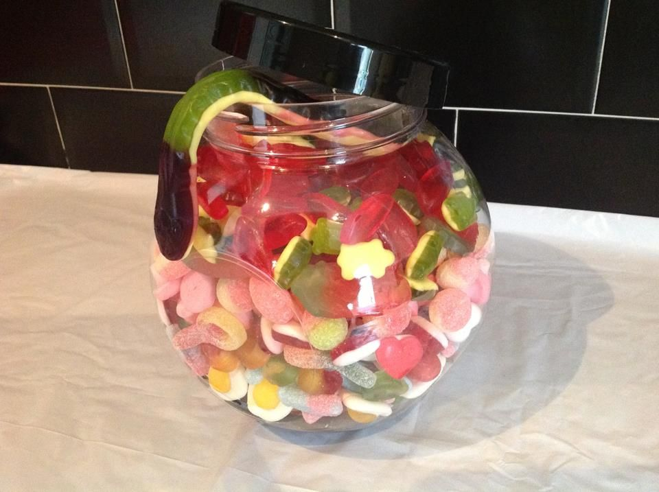 large child friendly jar filled with 2kg of sweets from our every growing list £12