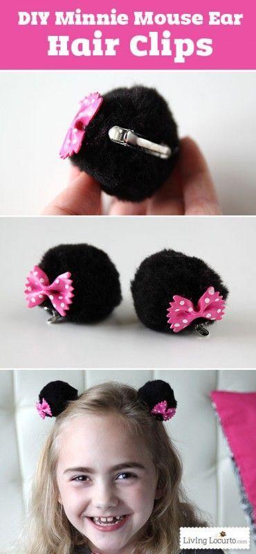 DIY Minnie Mouse Ear Hair Clips Craft #disneycrafts