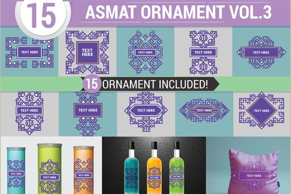 MODERN ASMAT ORNAMENT AND BORDER by defarmerdesign on @creativemarket