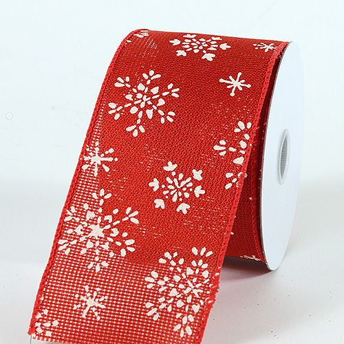 specialty ribbon snowflakes red burlap wired christmas ribbon - Christmas Ribbon Wholesale