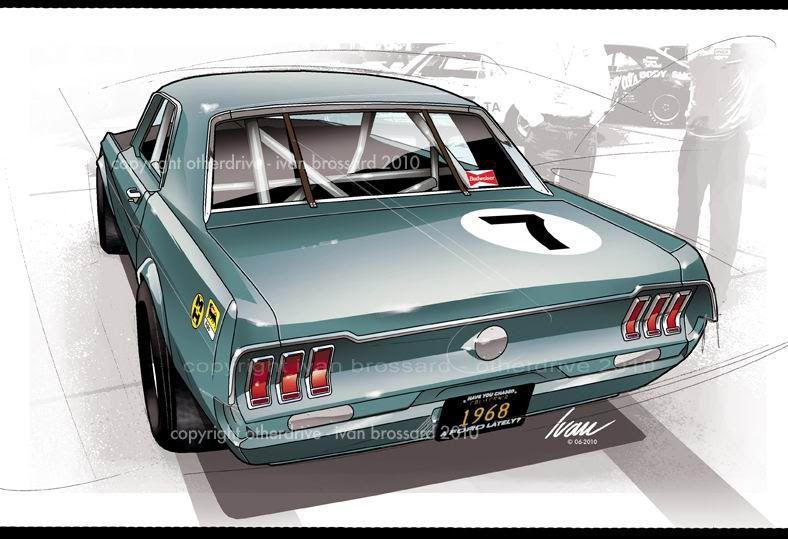 ford mustang 67 racing ivan brossard cars illustrations. Black Bedroom Furniture Sets. Home Design Ideas