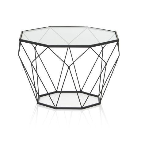 Couchtisch Tomke, geometrisches Design, Sicherheitsglas, Metall