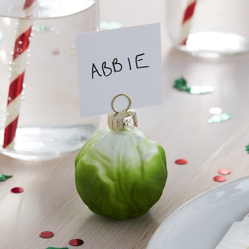 Brussel Sprout Place Card Holders Christmas Table Names Christmas Tableware Christmas Decor Christmas Name Cards Christmas Party Decor Christmas Place Card Holders Christmas Place Cards Christmas Tableware