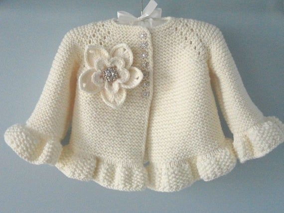 Photo of Knitting PATTERN Baby Jacket Baby Cardigan Garter Stitch Knit Pattern Baby Girl Jacket Newborn Girl Coat Knitting Cardigan Baby PATTERN