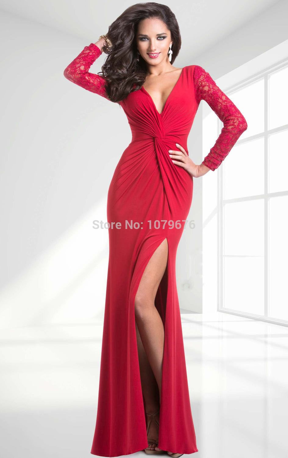 Sexy deep v neck lace long sleeves evening dresses red side split