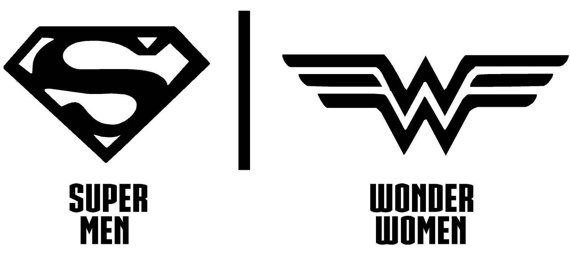 Bathroom, Restrooms, Sign, Men, Women, Superman, Wonder