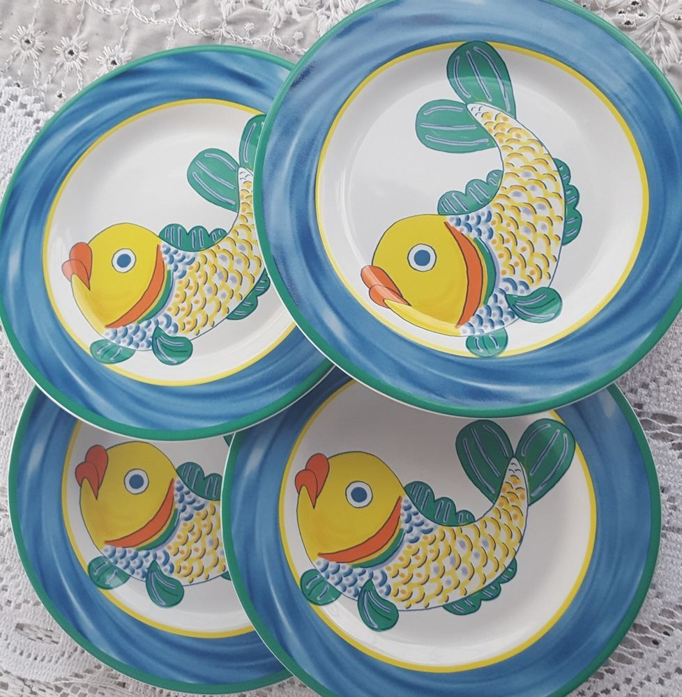 Certified international parisian fruit canister by susan winget set - Set Of 4 Florida Marketplace Fish Tails Fun Blue Beach Theme Salad Plates