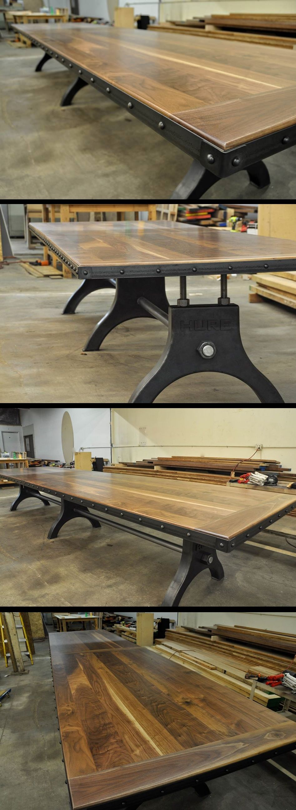 Hure conference table with faux crank vintage industrial furniture - Helicoid Table Vintage Industrial Furnitureindustrial