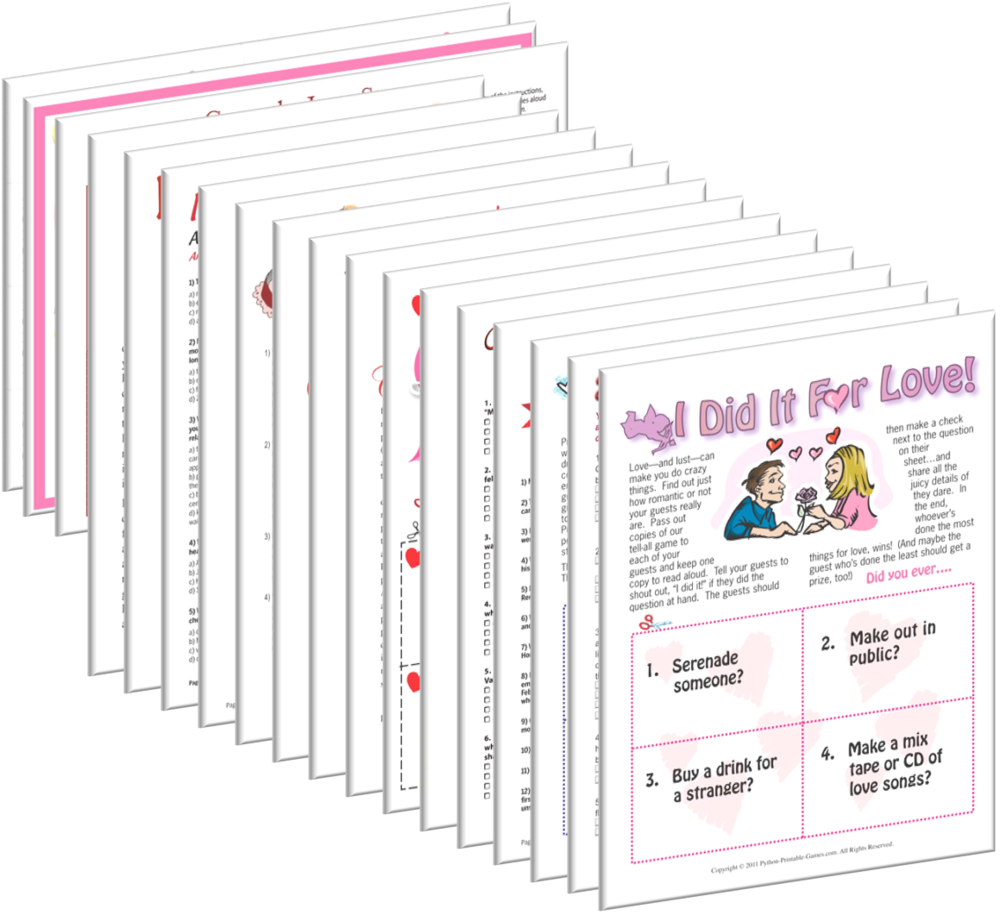 All Valentine's Day Games, $19.95 | Valentine's Day Printable ...