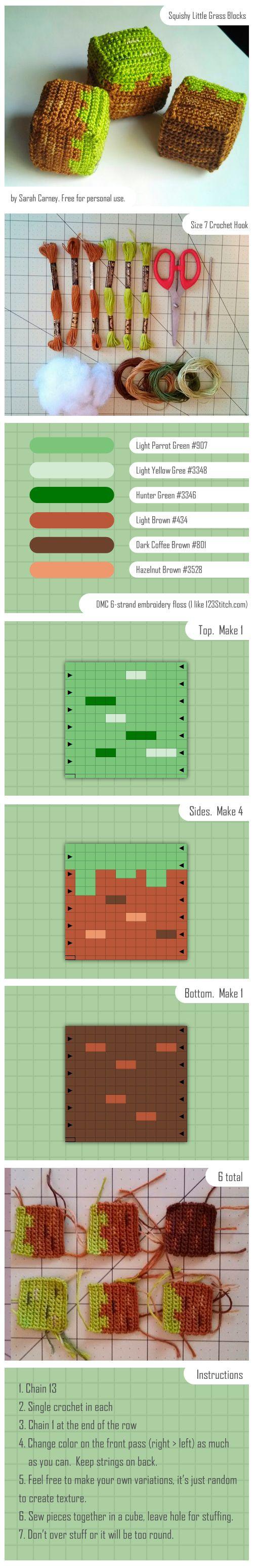 Grass Minecraft Block Crochet Tutorial by dinn | Crochet and ...
