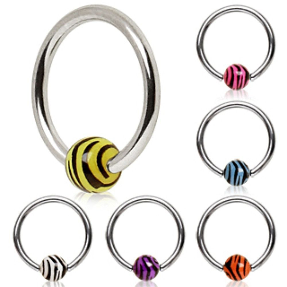316l Surgical Steel Captive Bead Ring With Uv Zebra Ball Lip Jewelry Septum Jewelry Belly Jewelry